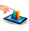 tablet with graph and hand vector image vector image