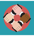 Hands holding each other showing unity vector image