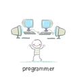 Programmer worth around computers vector image