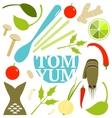 Tom Yum Soup Food Set vector image