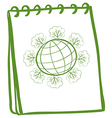 A notebook with a sketch of a globe vector image vector image