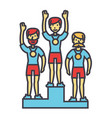 winner podium sport team first place olympics vector image