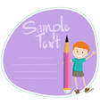 Border design with boy and pencil vector image