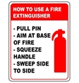 How to use a fire extinguisher informational vector image
