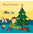 Girl decorate christmas tree vector image