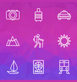 journey outline icons set collection of tram vector image