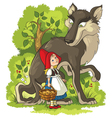 little red riding hood and wolf in the forest vector image