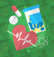 Medicine flat icons set Pills box tablets pill vector image