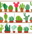 seamless pattern of cactuses and succulents in vector image