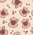 Seamless pattern with coffee cups and beans vector image