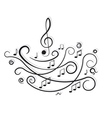 Musical notes Ornament with swirls on white Vector Image