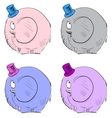 Funny elephants in top-hat vector image vector image