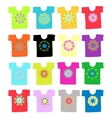 Floral ornament on white t-shirt collection for vector image