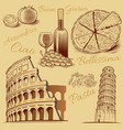 italy-hand drawn pizza pisa tower colloseum vector image