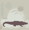 Crocodile silhouette on grunge background vector image