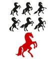 Rearing up and prancing horses silhouettes vector image