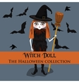 background Halloween style with witch doll vector image