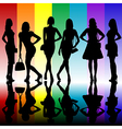 Fashion background with young ladies silhouettes vector image