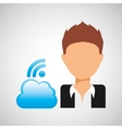 guy cartoon wifi cloud connection vector image