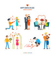 happy couples in variety of settings situations vector image
