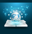 Open book and globe knowledge vector image