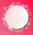 Snowflakes frame on white background vector image