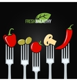 vegetables on fork food design menu background vector image