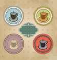 Set of vintage retro coffee labels with ornament vector image vector image