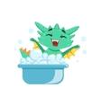 Little Anime Style Baby Dragon Enjoying Bubble vector image