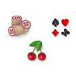 casino symbols - suits bingo kegs jackpot cherry vector image