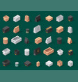 different box isometric icons isolated move vector image