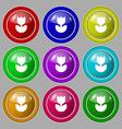 Flower rose icon sign symbol on nine round vector image