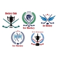 Ice hockey heraldic emblems and badges vector image