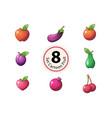 set fruit orange apple eggpalnt plum pear vector image