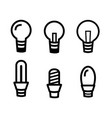 set of light bulb icon on white background vector image