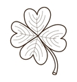 Sketch clover leaf isolated on white vector image
