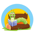 A worm reading a book vector image vector image
