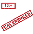 18 and uncensored restriction sign vector image