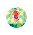 Marathon Runner Running Circle Low Polygon vector image vector image