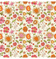 Pattern with cartoon flowers vector