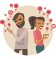 Couple sending love messages using smartphones vector image