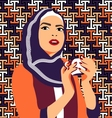 Beautiful muslim woman drinking coffee vector image