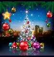 christmas greeting with panorama of city vector image