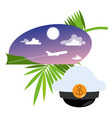 flying airplane and captain39s cap color on the vector image