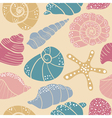 seashells and starfish seamless pattern vector image