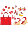 Set of red accessories vector image