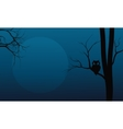 Silhouette of owl in tree Halloween vector image