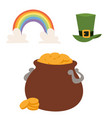 st patricks day icons and leprechaun vector image