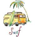 watercolor surfing car vector image