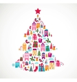 abstract christmas tree with cute icons and design vector image vector image